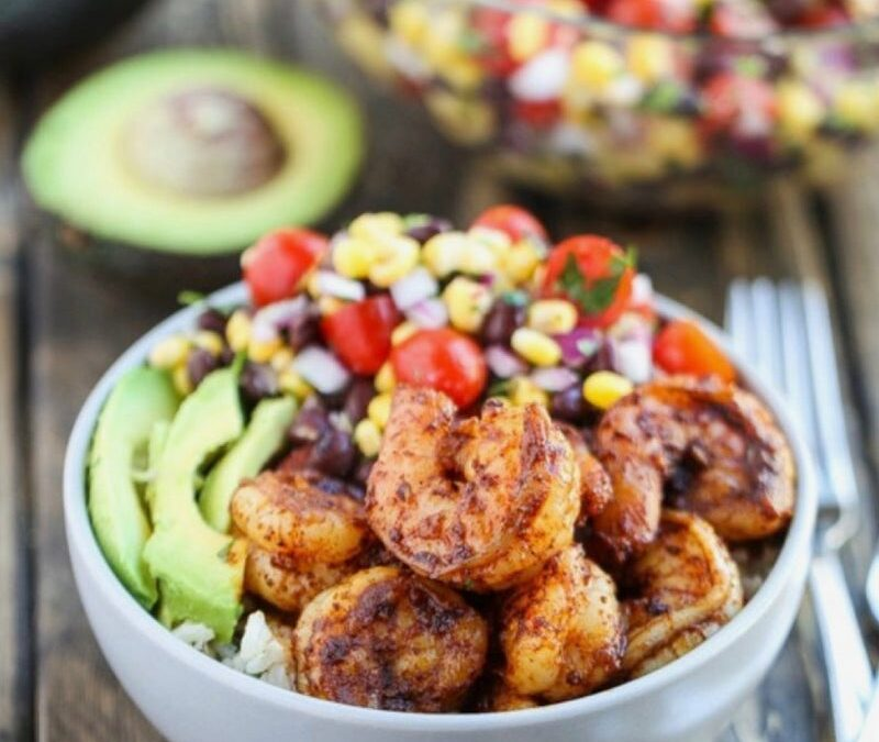 SHRIMP BURRITO BOWLS WITH BLACK BEAN & CORN SALSA